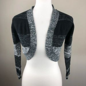 Red Paint Black Gray Sweater Shrug Cover Wrap Med